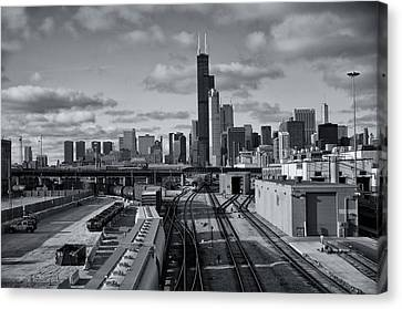Canvas Print featuring the photograph All Tracks Lead To Chicago by Sheryl Thomas