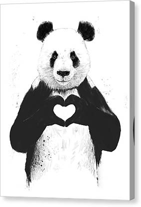 Panda Canvas Print - All You Need Is Love by Balazs Solti