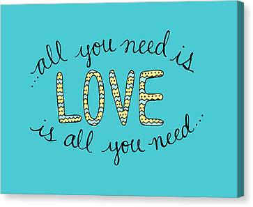 All You Need Is Love Blue And Yellow Canvas Print by Michelle Eshleman