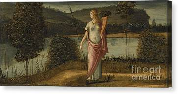 Allegorical Figure Of A Woman In A Landscape Holding A Spear And A Cornucopia Canvas Print by Celestial Images