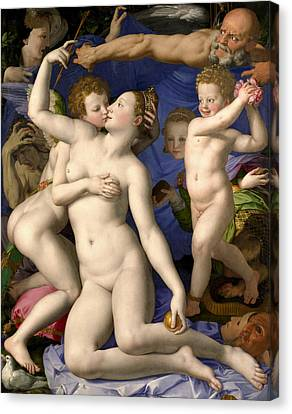 Allegory Of The Triumph Of Venus Canvas Print by Bronzino