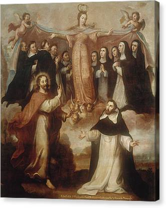 Allegory Of The Virgin Patroness Of The Dominicans Canvas Print by Miguel Cabrera