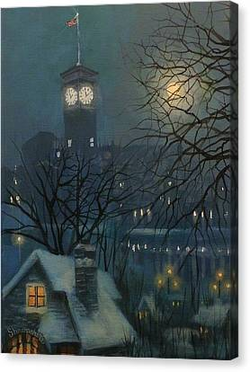Snow Scene Canvas Print - Allen Bradley Clock Milwaukee by Tom Shropshire