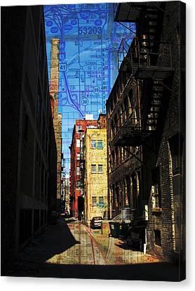 Fire Escape Canvas Print - Alley 3rd Ward W Map by Anita Burgermeister