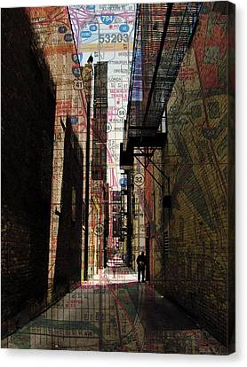 Fire Escape Canvas Print - Alley And Guy Reading W Map by Anita Burgermeister