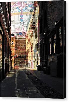 Fire Escape Canvas Print - Alley Front Street W Map by Anita Burgermeister
