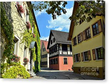 Alley In A Small Town In Germany Canvas Print by Elzbieta Fazel