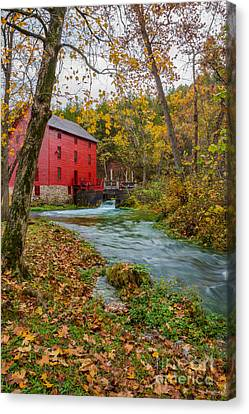 Alley Mill In Autumn Canvas Print by Jennifer White