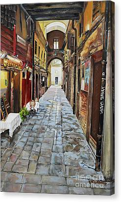 Canvas Print featuring the painting Venezia - Alley On Parangon In Venice by Jan Dappen