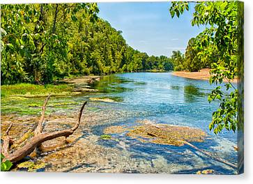 Canvas Print featuring the photograph Alley Springs Scenic Bend by John M Bailey