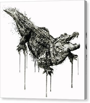 Alligator Black And White Canvas Print