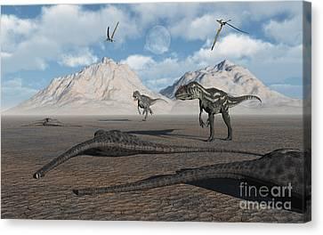 Allosaurus Dinosaurs Approach A Group Canvas Print by Mark Stevenson
