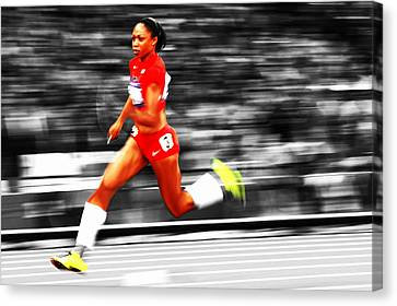Michelle Canvas Print - Allyson Felix In Warp Speed by Brian Reaves