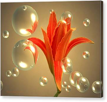 Almost A Blossom In Bubbles Canvas Print by Joyce Dickens