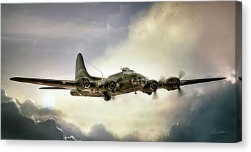 Vintage Air Planes Canvas Print - Almost Home Memphis Belle by Peter Chilelli