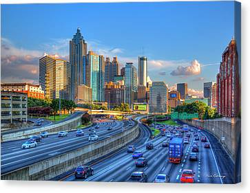 Canvas Print featuring the photograph Almost Sunset Atlanta Downtown Cityscape Art by Reid Callaway