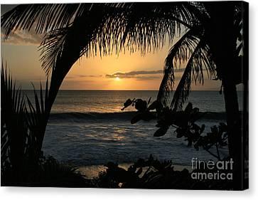 Aloha Aina The Beloved Land - Sunset Kamaole Beach Kihei Maui Hawaii Canvas Print by Sharon Mau
