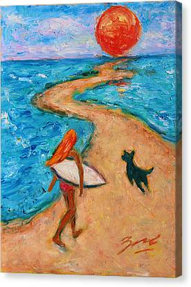 Canvas Print featuring the painting Aloha Surfer by Xueling Zou