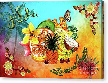 Canvas Print featuring the digital art Aloha Tropical Fruits By Kaye Menner by Kaye Menner