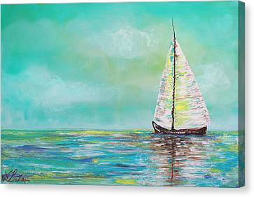 Breathing Canvas Print - Alone At Sea by Laura Barbosa