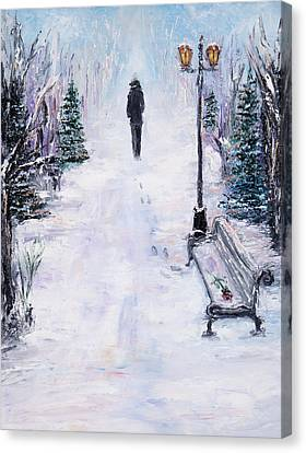 Alone In Park Canvas Print by Boyan Dimitrov
