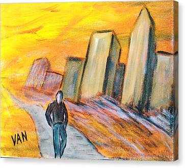 Alone In The City Canvas Print by Van Winslow