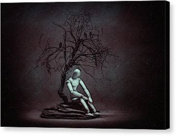 Sadness Canvas Print - Alone In The Dark by Tom Mc Nemar