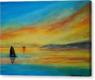 Alone In Winter Sunset Canvas Print