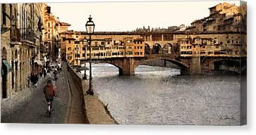 Along The Arno Canvas Print by Joe Bonita
