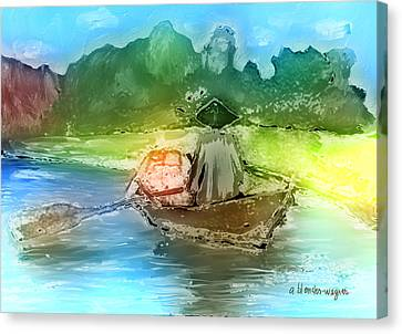 Along The Banks Of Hanoi Canvas Print by Arline Wagner