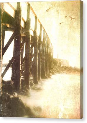 Along The Pier Canvas Print by Hal Halli