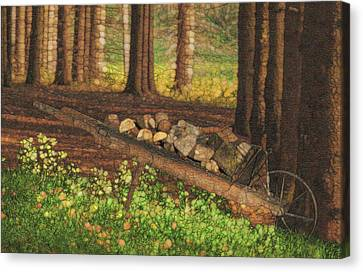 Cabin Window Canvas Print - Along The Pines by Jack Zulli