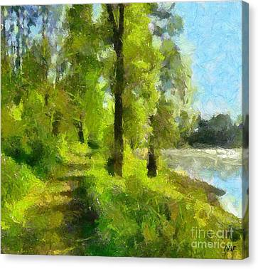Rural Scenes Canvas Print - Along The River by Dragica  Micki Fortuna
