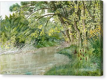 Canvas Print featuring the painting Along The Susquehanna by Melly Terpening