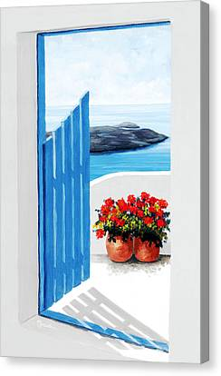 Santorini, Along The Way - - Prints Of Original Oil Painting Canvas Print by Mary Grden's Baywood Gallery