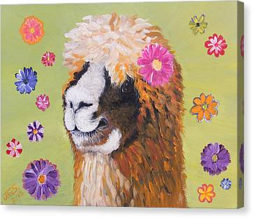 Canvas Print featuring the painting Alpaca Hippie by Janet Greer Sammons