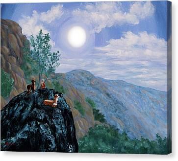 Llama Canvas Print - Alpaca Shaman Meditation by Laura Iverson