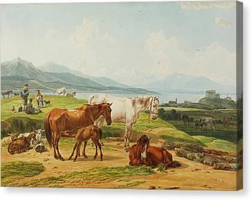 Alpensee Und Weide Mit Pferden Nach Canvas Print by MotionAge Designs