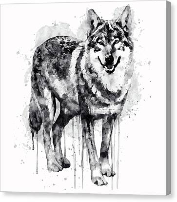 Wolves Canvas Print - Alpha Wolf Black And White by Marian Voicu
