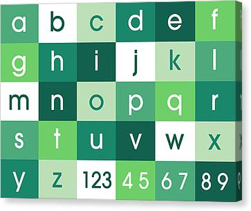 Alphabet Green Canvas Print by Michael Tompsett