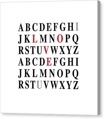 Alphabet I Love U Canvas Print by Nancy Ingersoll