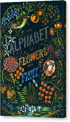 Juvenile Wall Decor Canvas Print - Alphabet Of Flowers by Antique Art