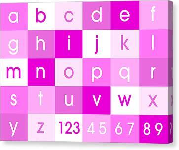 Alphabet Pink Canvas Print by Michael Tompsett