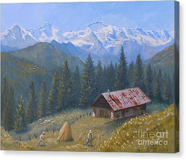 Wengen Canvas Print - Alpine Beauty With Eiger Monch And Jungfrau by Elaine Jones