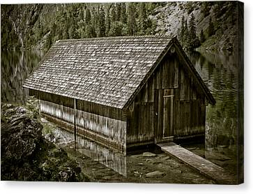 Alpine Boat Hut Canvas Print by Frank Tschakert