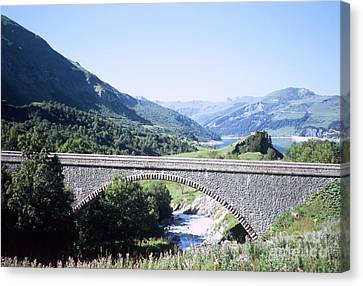 Alpine Bridge With Lake Canvas Print