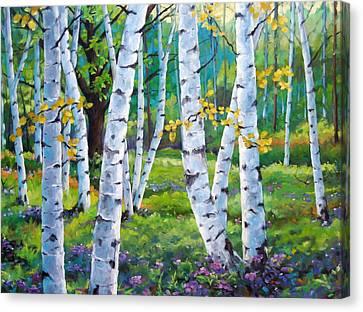 Alpine Flowers And Birches  Canvas Print