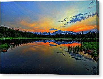 Canvas Print featuring the photograph Alpine Lake Glow by Scott Mahon