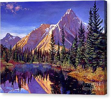 Alpine Lake Mist Canvas Print by David Lloyd Glover