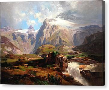 Alpine Landschaft Mit Wasserfall Canvas Print by MotionAge Designs